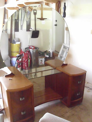 Antique Mid Century Vanity Dressing Table W Bench Large Round Mirror Pickup Il