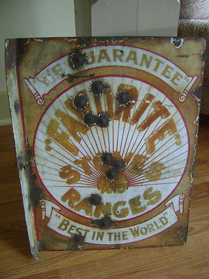 Antique metal enamel flange sign Favorite Stoves and Ranges beaver